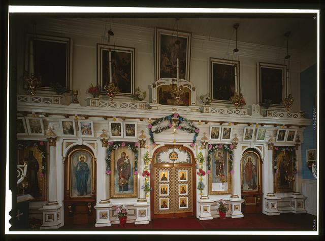 INTERIOR, DETAIL OF ICONSTAS - Saints Peter & Paul Russian Orthodox Church, Church Street, Saint Paul, Aleutians West Census Area, AK