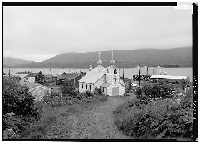 2.  NORTH SIDE AND WEST FRONT - Three Saints Russian Orthodox Church, Kodiak Island, Old Harbor, Kodiak Island Borough, AK