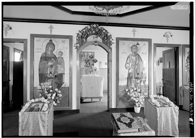 9.  INTERIOR, NAVE, DETAIL OF ICONOSTAS, DOORS OPEN - Three Saints Russian Orthodox Church, Kodiak Island, Old Harbor, Kodiak Island Borough, AK