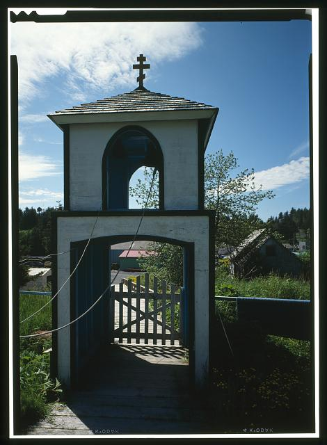 WEST AND SOUTH SIDES, WITH BELLTOWER - Nativity of Our Lord Russian Orthodox Church, Spruce Island, Ouzinkie, Kodiak Island Borough, AK