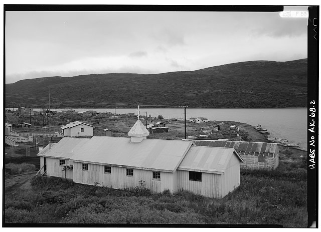 2.  SOUTH AND EAST SIDES, LOOKING NORTHWEST, NEW CHURCH IN FOREGROUND, OLD CHURCH IN BACKGROUND - St. Nicholas Russian Orthodox Churches, Chignik Lake, Lake & Peninsula Borough, AK