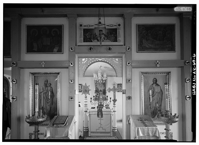6.  INTERIOR, NAVE, LOOKING THROUGH ROYAL DOORS TO ALTAR - St. Nicholas Russian Orthodox Church, Nikolski, Aleutians West Census Area, AK