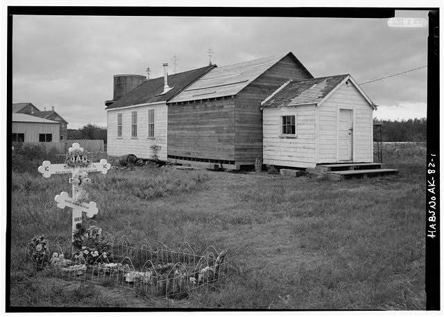 1.  NORTH SIDE AND WEST FRONT - Elevation of the Holy Cross Russian Orthodox Church, South Naknek, Bristol Bay Borough, AK
