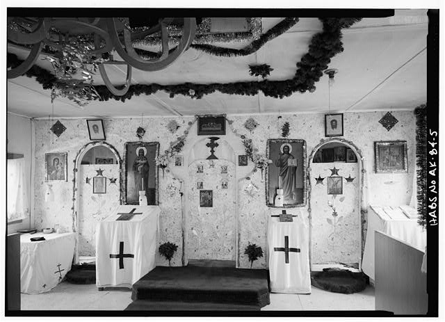 5.  INTERIOR, NAVE, DETAIL OF ICONOSTAS - St. Nicholas Russian Orthodox Church, Nondalton, Lake & Peninsula Borough, AK