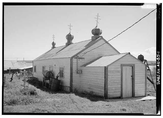 1.  NORTH SIDE AND WEST FRONT - St. John the Baptist Russian Orthodox Church, Naknek, Bristol Bay Borough, AK