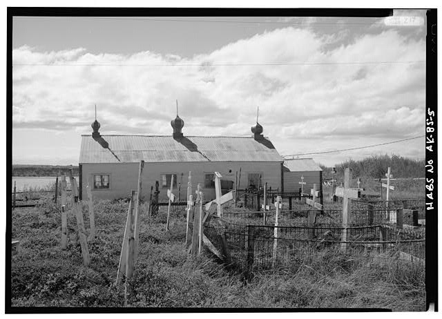 5.  NORTH SIDE, GRAVES IN FOREGROUND - St. John the Baptist Russian Orthodox Church, Naknek, Bristol Bay Borough, AK