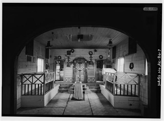 7.  INTERIOR, FROM NARTHEX LOOKING EAST INTO NAVE - Russian Orthodox Church, Savonoski-Abandon City, King Salmon, Bristol Bay Borough, AK
