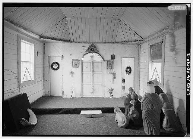 3.  INTERIOR, NAVE, LOOKING EAST AT ICONSTAS, ICONS REMOVED - Saints Sergius & Herman Russian Orthodox Churches, Old Church, Port Graham, Kenai Peninsula Borough, AK
