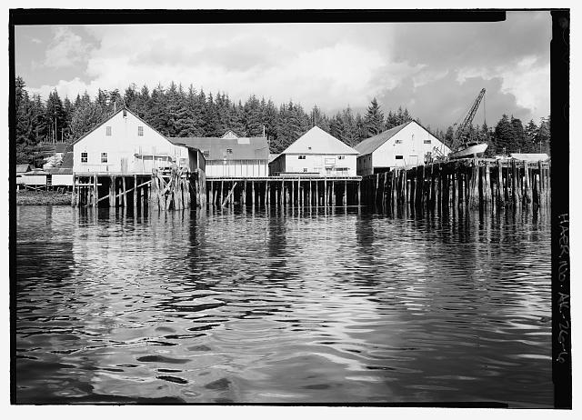 6.  Cannery from boat, building behind crane, packing and shipping - Kake Salmon Cannery, 540 Keku Road, Kake, Wrangell-Petersburg Census Area, AK