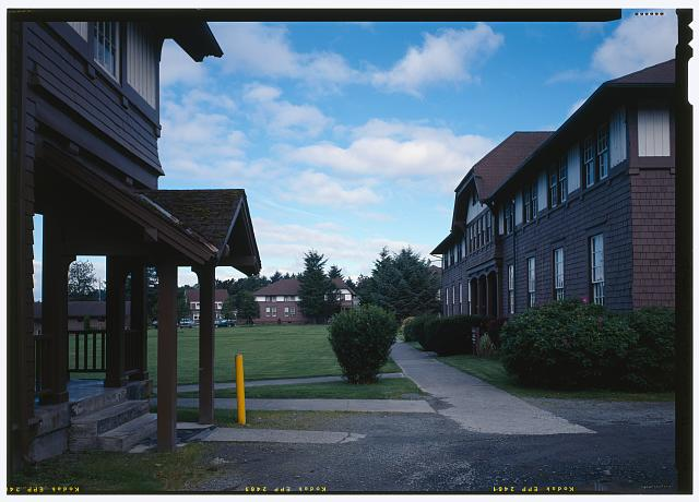 View west across quad framed by Frazier and Whitmore Halls - Sheldon Jackson College, Lincoln Street, Sitka, Sitka Borough, AK