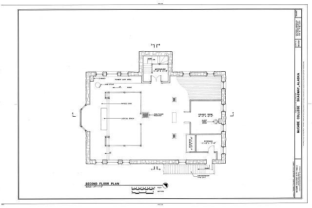 Second Floor Plan - McCabe College, End of Seventh Avenue, East of Broadway Avenue, Skagway, Skagway, AK