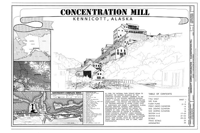 Concentration Mill Title Sheet - Kennecott Copper Corporation, Concentration Mill, On Copper River & Northwestern Railroad, Kennicott, Valdez-Cordova Census Area, AK