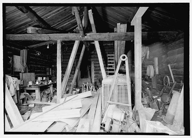 12.  Interior view, eastern end of machine shop - Stampede Gold Mine, Kantishna, Denali Borough, AK