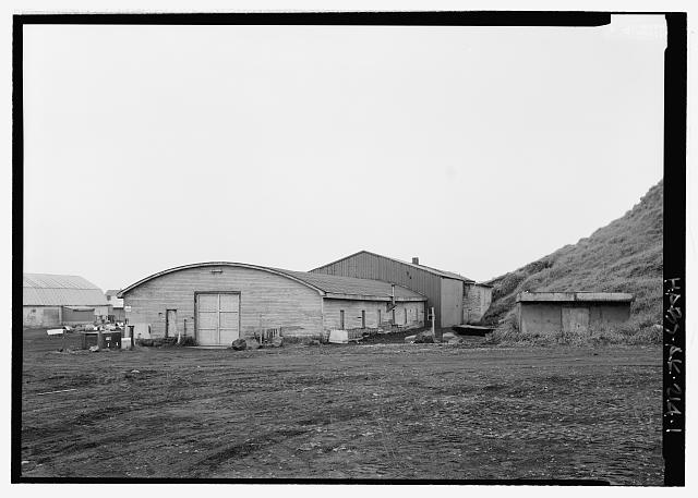 Front of equipment garage, looking southeast - Equipment Garage & Machine Shop, Haul Road, Saint Paul, Aleutians West Census Area, AK