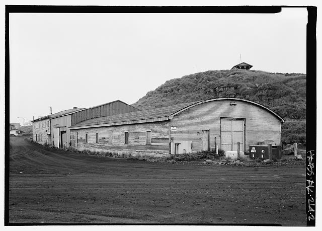Front of equipment garage, looking southwest - Equipment Garage & Machine Shop, Haul Road, Saint Paul, Aleutians West Census Area, AK
