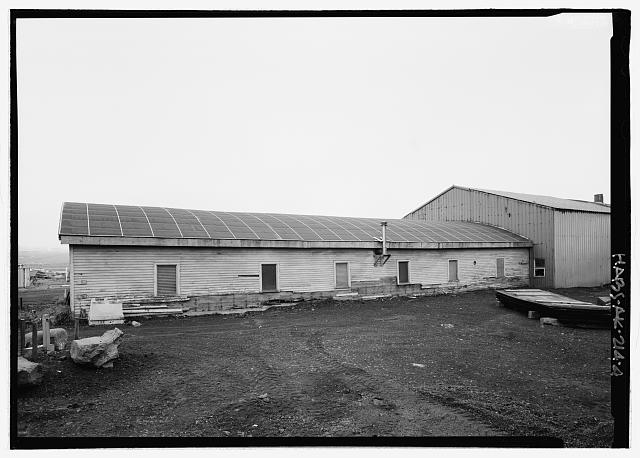 West (side) elevation of equipment garage - Equipment Garage & Machine Shop, Haul Road, Saint Paul, Aleutians West Census Area, AK