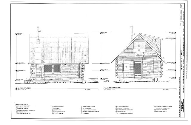 East & North Elevations - McDermott Cabin, Town of Dyea (historical town site), Skagway, Skagway, AK