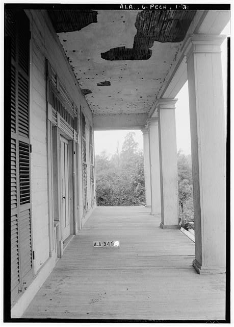 7.  Historic American Buildings Survey W. N. Manning, Photographer, July 19, 1935. VIEW IN FRONT PORCH, TOWARD SOUTH - Seale-Mosley House, County Road 40 (moved from original location), Peachburg, Bullock County, AL