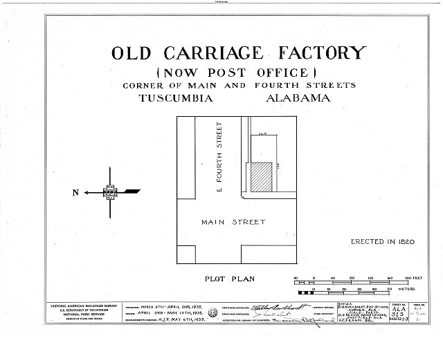 HABS ALA,17-TUSM,3- (sheet 0 of 3) - Carriage Factory, Main & East Fourth Streets, Tuscumbia, Colbert County, AL
