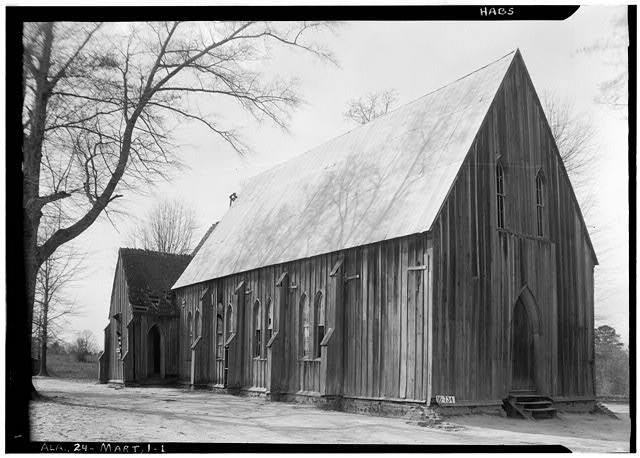 1.  Historic American Buildings Survey W. N. Manning, Photographer, March 23, 1934. SIDE AND FRONT ELEVATION. - SOUTH AND EAST - St. Luke's Episcopal Church, (Moved from Cahaba, AL), Martin, Dallas County, AL