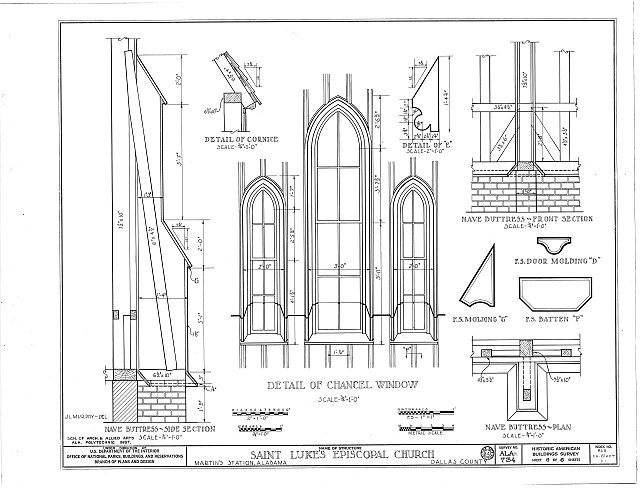 HABS ALA,24-MART,1- (sheet 6 of 6) - St. Luke's Episcopal Church, (Moved from Cahaba, AL), Martin, Dallas County, AL