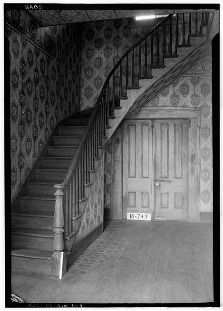 4.  Historic American Buildings Survey W. N. Manning, Photographer, March 23, 1934. HALL STAIRS. - Moore House, Persimmon Street, Summerfield, Dallas County, AL