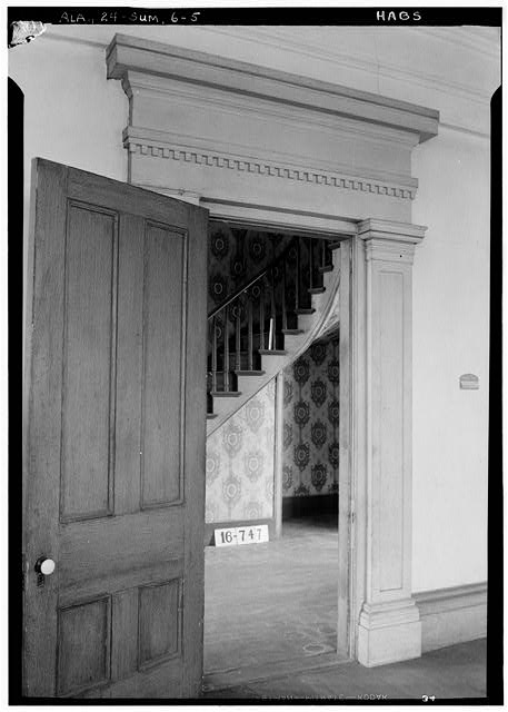 5.  Historic American Buildings Survey W. N. Manning, Photographer, March 23, 1934. DETAIL (LIVING ROOM DOOR) - Moore House, Persimmon Street, Summerfield, Dallas County, AL