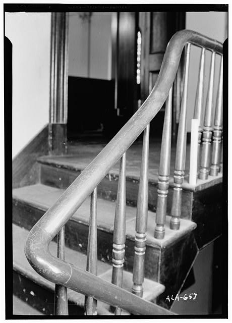 6.  Historic American Buildings Survey W. N. Manning, Photographer, March 15, 1935 SHOWING TURN IN STAIRWAY N.W. - Baptist Church, 205 West Bridge Street, Wetumpka, Elmore County, AL