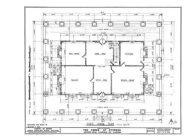 HABS ALA,39-FLO.V,3- (sheet 1 of 6) - Forks of Cypress, Savannah Road (Jackson Road), Florence, Lauderdale County, AL