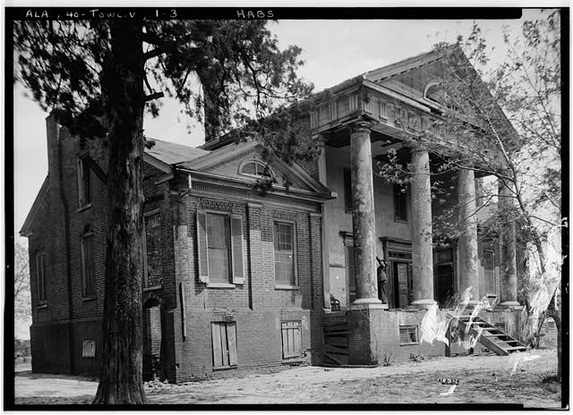 3.  Historic American Buildings Survey Alex Bush, Photographer, April 22, 1937 FRONT (SOUTH) AND WEST ELEVATION - Saunders-Goode-Hall House, State Highway 101, Town Creek, Lawrence County, AL