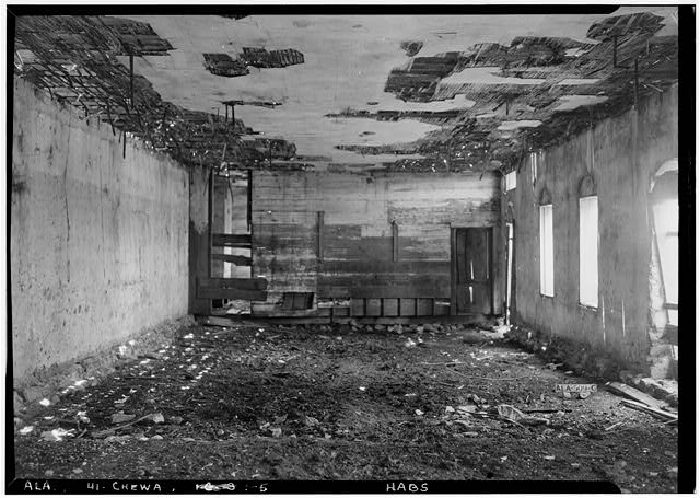 5.  Historic American Buildings Survey E. W. Russell, Photographer, June 19, 1937 INTERIOR OF OLD COMMISSARY LOOKING SOUTH. - Chewacla Limeworks, Limekiln Road, Chewacla, Lee County, AL