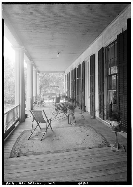 7.  Historic American Buildings Survey E. W. Russell, Photographer, February 15, 1937 VIEW TOWARDS SO. OF SECOND STORY FRONT PORTICO - Azalea Grove, 55 South McGregor Avenue, Spring Hill, Mobile County, AL