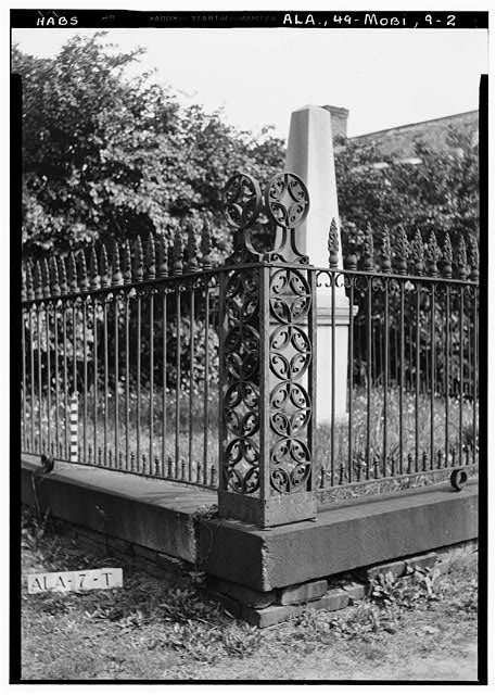2.  Historic American Buildings Survey E. W. Russell, Photographer, April 7, 1936 FENCE POST TO BURIAL LOT OF THADDEUS SANFORD, BURIAL LOT IN OLD CHURCH STREET CEMETERY - Church Street Cemetery, Church & Bayou Streets, Mobile, Mobile County, AL