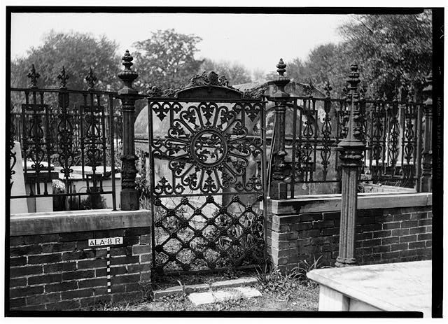 5.  Historic American Buildings Survey E. W. Russell, Photographer, February 6, 1936 GATE AND FENCE TO JEUNEDOT LOT IN OLD CHURCH STREET CEMETERY - Church Street Cemetery, Church & Bayou Streets, Mobile, Mobile County, AL