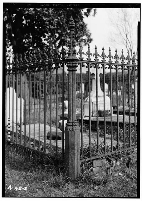 6.  Historic American Buildings Survey E. W. Russell, Photographer, February 6, 1936 CAST IRON POST, WROUGHT IRON FENCE WITH CAST IRON PICKET CAPS. JOHN HERPIN LOT IN OLD CHURCH ST. CEMETERY - Church Street Cemetery, Church & Bayou Streets, Mobile, Mobile County, AL