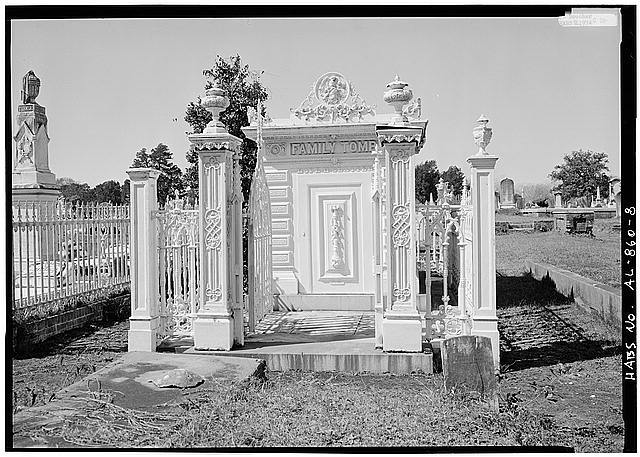 8.  FRONT OF TOMB WITH GATE OPEN - Slatter Family Tomb, Magnolia Cemetery, Virginia Street, Mobile, Mobile County, AL