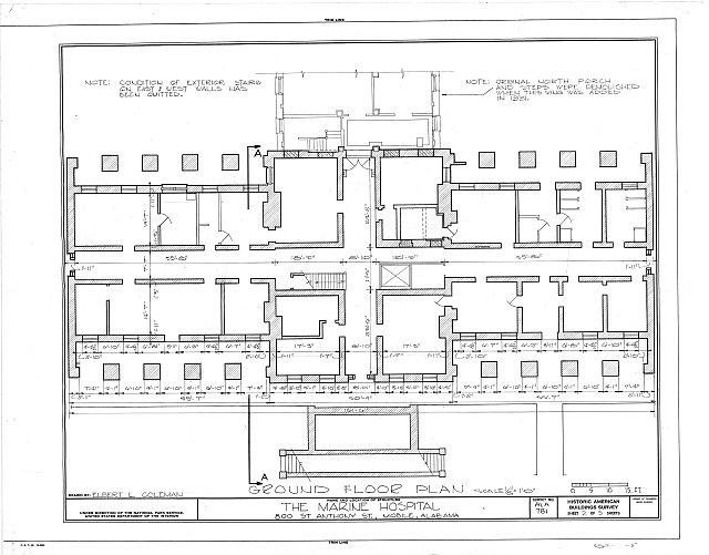 HABS ALA,49-MOBI,90- (sheet 2 of 5) - U. S. Marine Hospital & Gates, 800 Saint Anthony Street, Mobile, Mobile County, AL