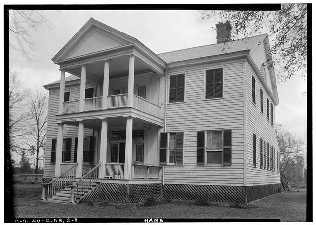 Front Elevation - James Dellet House, U.S. Highway 84 (State Highway 12), Claiborne, Monroe County, AL