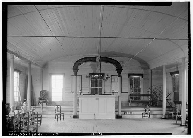 3.  Historic American Buildings Survey W. N. Manning, Photographer, March 7, 1934. LODGE ROOM. - 2d FLOOR - Masonic Hall, U.S. Highway 84 (moved from AL, Claiborne), Perdue Hill, Monroe County, AL
