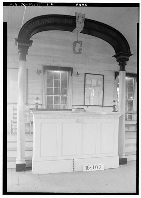 4.  Historic American Buildings Survey W. N. Manning, Photographer, March 7, 1934. MASONIC TEMPLE. - DETAIL OF PULPIT + ARCH - Masonic Hall, U.S. Highway 84 (moved from AL, Claiborne), Perdue Hill, Monroe County, AL