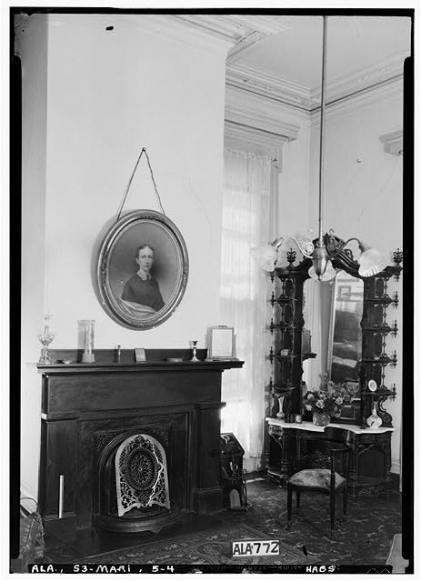 4.  Historic American Buildings Survey Alex Bush, Phorographer, April 24, 1935 FIREPLACE IN PARLOR (S.E. FRONT ROOM) ALSO SHOWING OLD FRENCH FURNITURE - Judge Porter King House, 1001 Washington Street, Marion, Perry County, AL
