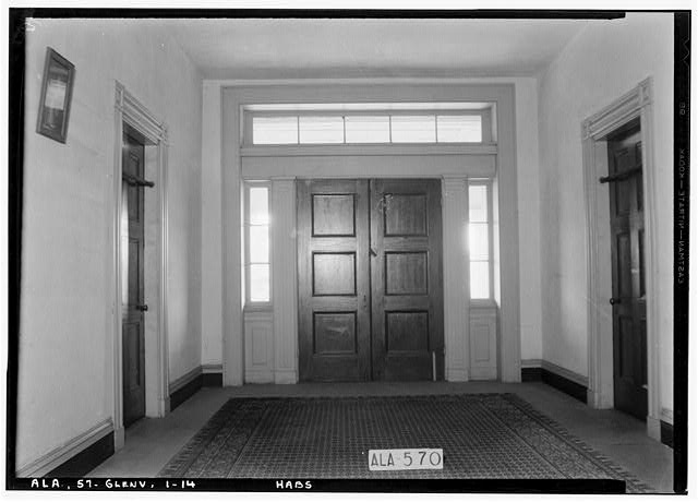 14.  Historic American Buildings Survey W. N. Manning, Photographer, May 18, 1935 VIEW IN HALL UPSTAIRS, FRONT HALL DOOR AND 2 SIDE DOORS - Elmoreland, U.S. Highway 241, Glenville, Russell County, AL