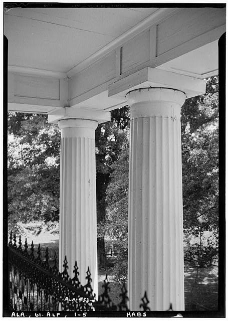 5.  Historic American Buildings Survey E. W. Russell, Photographer, June 18, 1937 TWO OF THE COLUMNS OF FRONT PORTICO FROM SECOND STORY BALCONY - Alpine, County Road 46, Alpine, Talladega County, AL