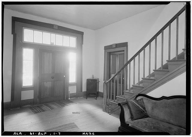 7.  Historic American Buildings Survey E. W. Russell, Photographer, June 18, 1937 ANGLE VIEW IN HALL, FIRST STORY, LOOKING SOUTHWEST & SHOWING STAIR, ENTRANCE TO WEST SIDE FRONT ROOM & MAIN ENTRANCE - Alpine, County Road 46, Alpine, Talladega County, AL