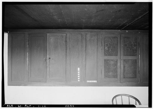 12.  Historic American Buildings Survey E. W. Russell, Photographer, June 18, 1937 CABINETS, EAST WALL OF BASEMENT DINING ROOM - Alpine, County Road 46, Alpine, Talladega County, AL