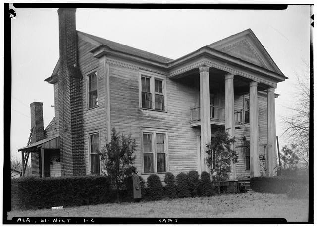 2.  Historic American Buildings Survey Alex Bush, Photographer, February 1, 1937 LOOKING WEST AT FRONT (NO.) ELEVATION - Morriss-Holmes House, State Route 76, Winterboro, Talladega County, AL