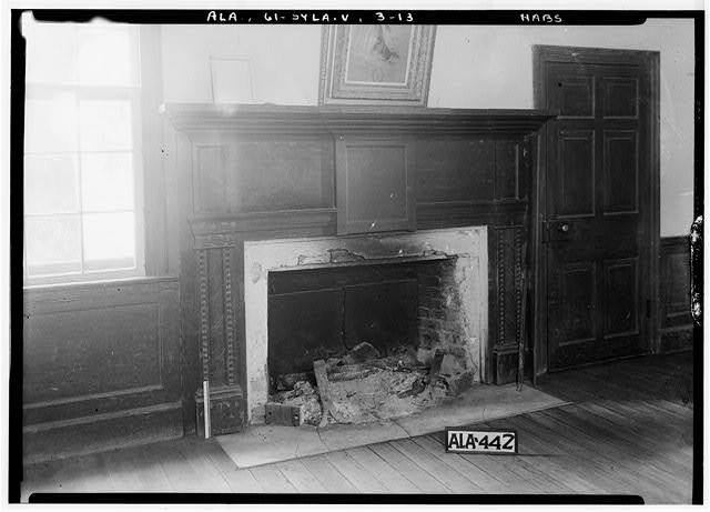 13.  Historic American Buildings Survey Alex Bush, Photographer, May 9, 1935 FIREPLACE IN DINING ROOM ON 1st FLOOR, MIDDLE ROOM ON S, SIDE - Mount Ida, County Road 11, Sylacauga, Talladega County, AL