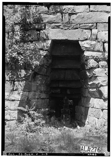 5.  Historic American Buildings Survey Alex Bush, Photographer, August 15, 1936 CLOSE-UP OF SOUTH OPENING - Tannehill Furnace (Ruins), Mud Creek vicinity, Bucksville, Tuscaloosa County, AL
