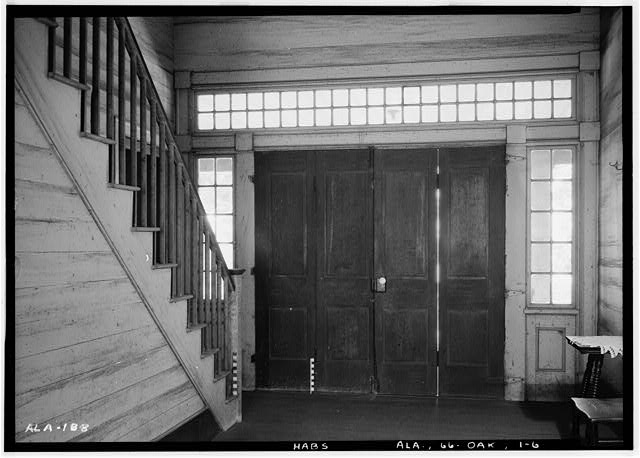 6.  Historic American Buildings Survey Alex Bush, Photographer, March 24, 1937 INTERIOR OF NORTH (FRONT) DOOR - Ramsey-Jones-Bonner House, State Route 10, Oak Hill, Wilcox County, AL