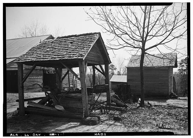 8.  Historic American Buildings Survey Alex Bush, Photographer, March 24, 1937 LOOKING WEST AT OLD WELL AND SMOKE HOUSE - Ramsey-Jones-Bonner House, State Route 10, Oak Hill, Wilcox County, AL